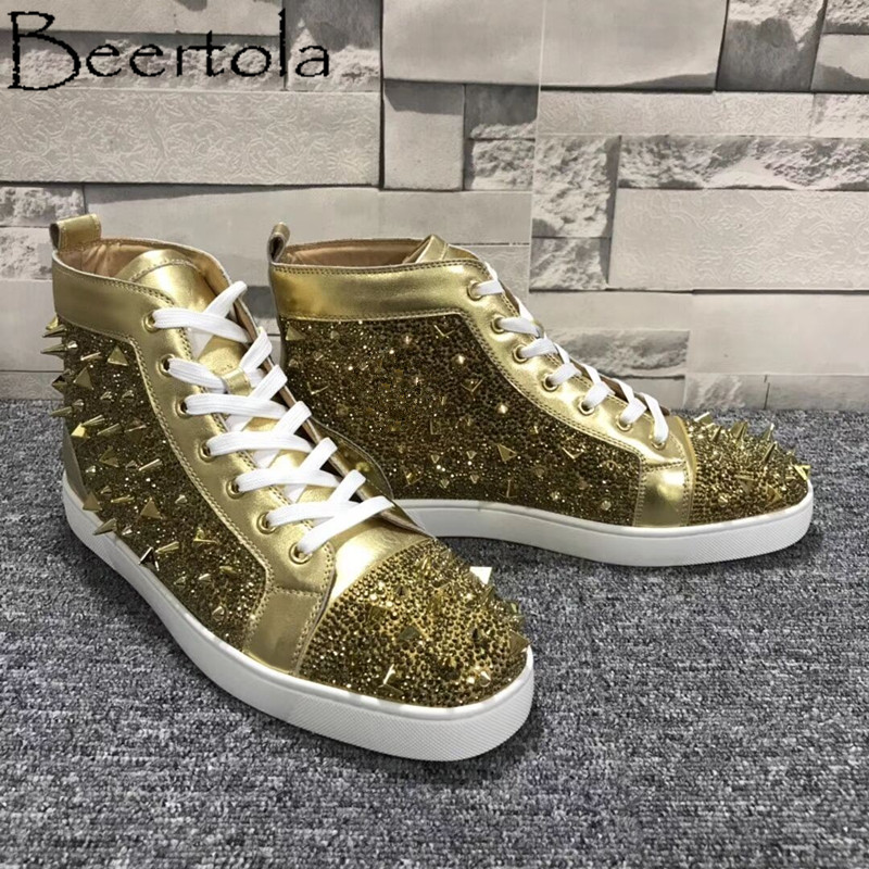 Beertola Casual Men Shoes Studded Messy Spikes Rhinestone Round Toe Luxury  Brand Cool Street Style Zapatos Hombre Fashion Flats b604c333ba8f