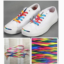 Colorful rainbow shoelace white canvas shoes color gradient red yellow blue green multicolored colorful shoelaces(China)