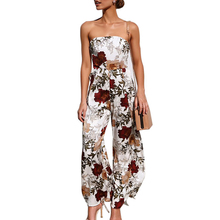 yashangyi Sexy Strapless Jumpsuit For Women Vintage Floral Print Rompers Wide Leg Pants Bohemian Beach Overalls Jumpsuit Femme