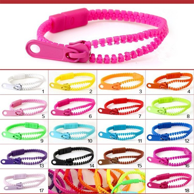(Monochrome) Harajuku Zipper Bracelet Wristband Fluorescent color rainbow Levels