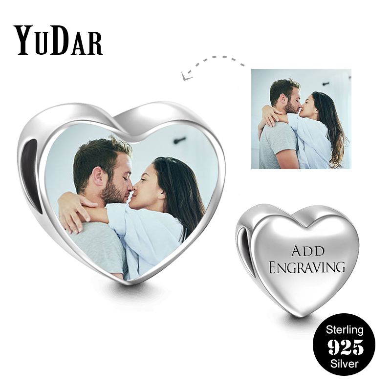 YUDAR Personalized 925 Sterling Silver Heart Photo Charm for Bracelet Engravable Messages Charm Gifts for Family Lovers YDS-1112 personalized photo engraved bracelet heart charm pendant bracelet sterling silver jewelry gift for lovers