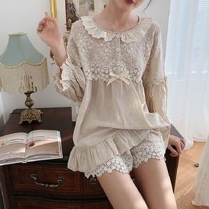 Image 2 - Summer Soft Linen Womens Pajamas Sets Sweet Shorts Pajamas Vintage Long Sleeve Sleepwear Autumn Nightwear Plus Size