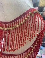 gold red heavy bead fringe tassel trim for dance costume, haute couture dress trimming beading fringe