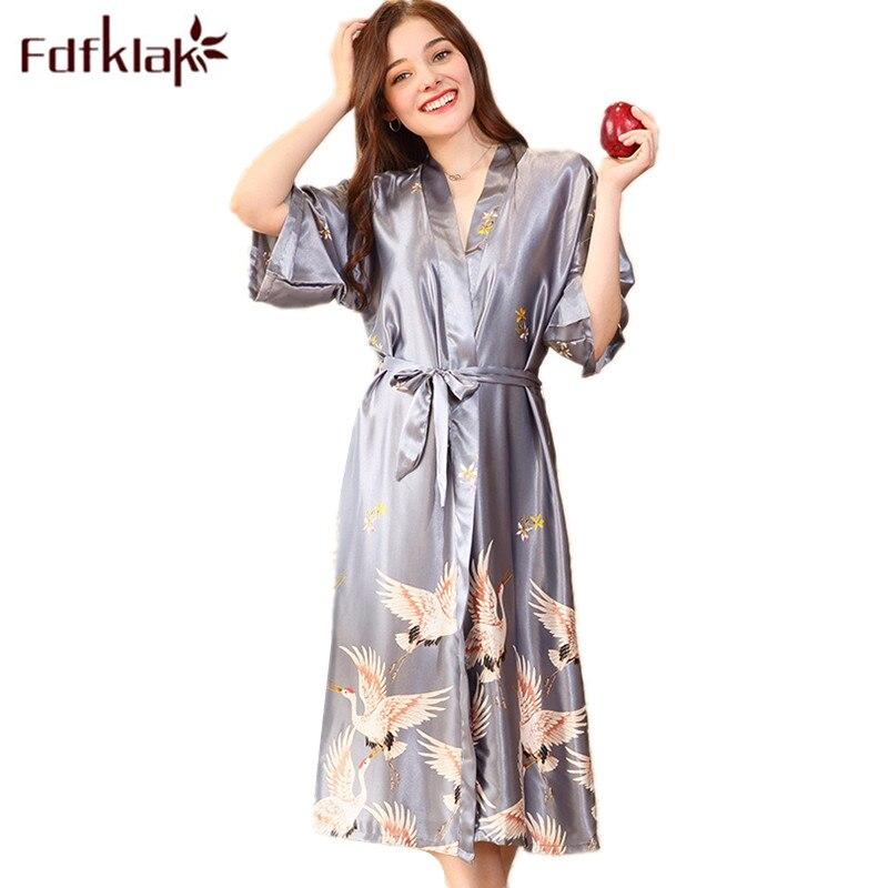 8f9c7a2e5b Fdfklak Floral Robe 2018 Spring Summer Sexy Women Long Silk Robe Female  Bath Robe Bathrobes For