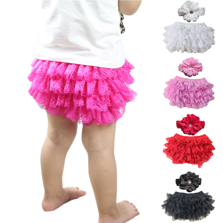 2017 Bragas Toddler Girls Lace Ruffle Shorts შარვალი 3-24m Bloomers Nappy Cover Tutu Bottoms 12 Colour Baby Bloomer Headband Set