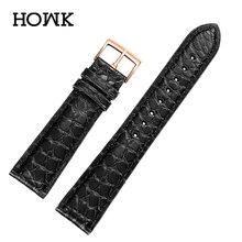 купить HOWK Women Or Men Genuine Leather High Quality Alligator Watch Strap For Omega/DW/IWC/Armani/Tian Wang With Pin Buckle 12mm 13mm по цене 1692.76 рублей