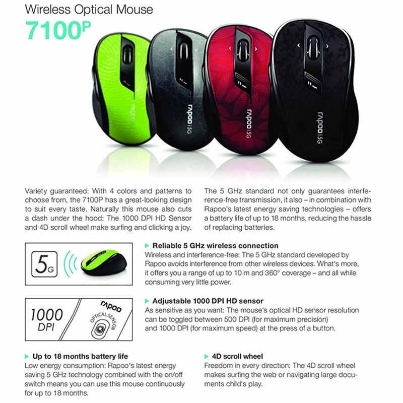 الأصلي Rapoo جودة عالية الكلاسيكية 5G ماوس الألعاب البصرية اللاسلكية مع ضبط DPI 4D التمرير لسطح المكتب كمبيوتر محمول جهاز كمبيوتر شخصي