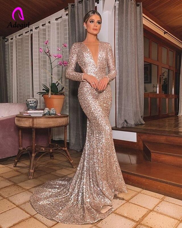 Image 4 - Elegant Long Rose Gold Sequin Evening Party Dress Vestido De  Festa Robe Long Sleeve Gowns Formal Party Dress Reflective  DressDresses