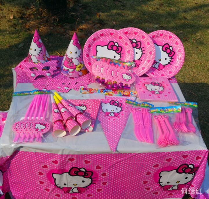 87pcs Kids Favors hello Kitty Theme Baby Shower Tableware Paper