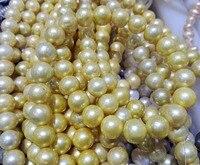 Bir Ipliklerini Gerçek İnci Boncuk 12-13mm Parlak Altın Renk İnci Doğal Tatlısu Inci gevşek boncuk 35 cm/15 inç