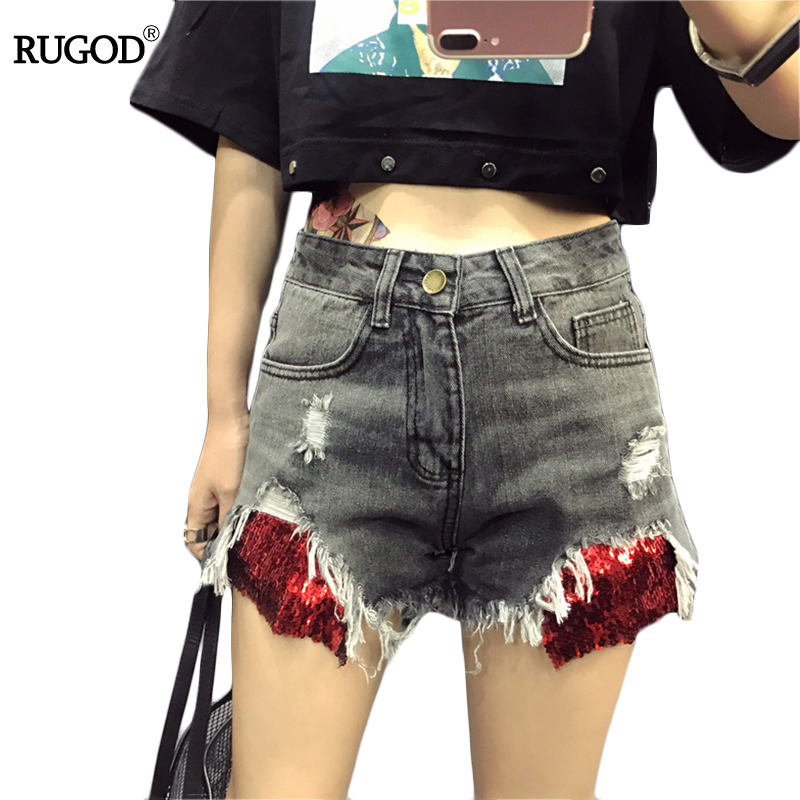 Rugod Vintage Sequins Patchwork Denim Shorts Women Short Jeans Sexy Frayed Hem Summer Shorts Femme 2017 New Ripped Tassel Shorts sexy frayed lace splicing denim shorts for women
