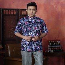 Multicolor Chinese Traditional Men's Cotton Linen Printing Shirt Kung Fu Shirt Tops With Pocket Size M L XL XXL XXXL