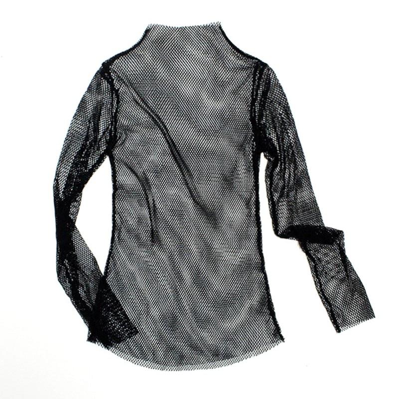 Wanita Fishnet Leher Tinggi Tops Lengan Panjang Lihat-t-shirt Tops - Pakaian wanita - Foto 3