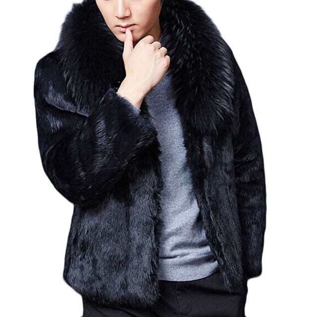 2016 plus size M-XXXL Newest winter coat Large faux fox fur coat Men's fur coat lapel jackets Schwarzen Pelzmantel Free shipping