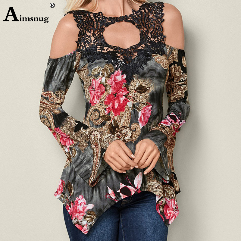 Plus Size S-3xl Elegant Lace Stitching Flower Print Black Tops Long Flare Sleeve Female T-shirt New Summer Street Women T Shirt