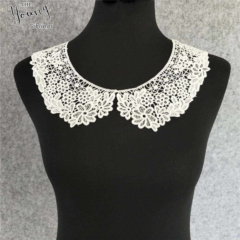 New arrive milky embroidered sewing lace applique neckline exquisite decoration handmade trim Lace fabric DIY clothing accessory