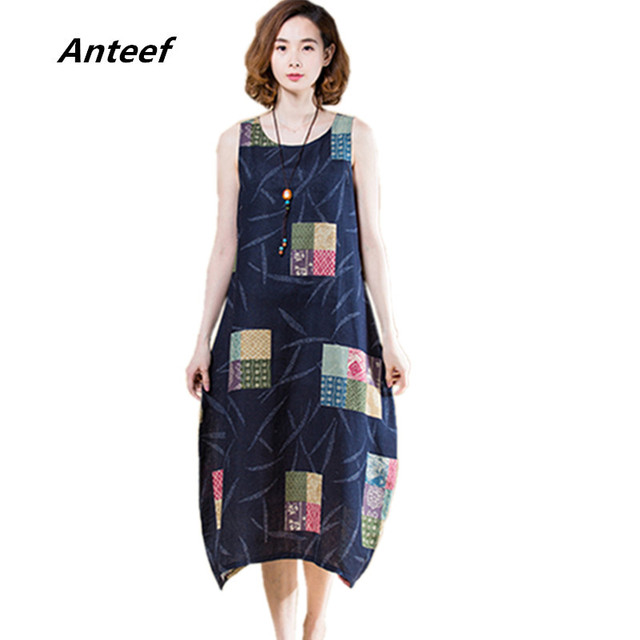 609618fc734 Anteef cotton linen vintage floral print clothes women casual loose long summer  dress vestidos femininos 2018 dresses