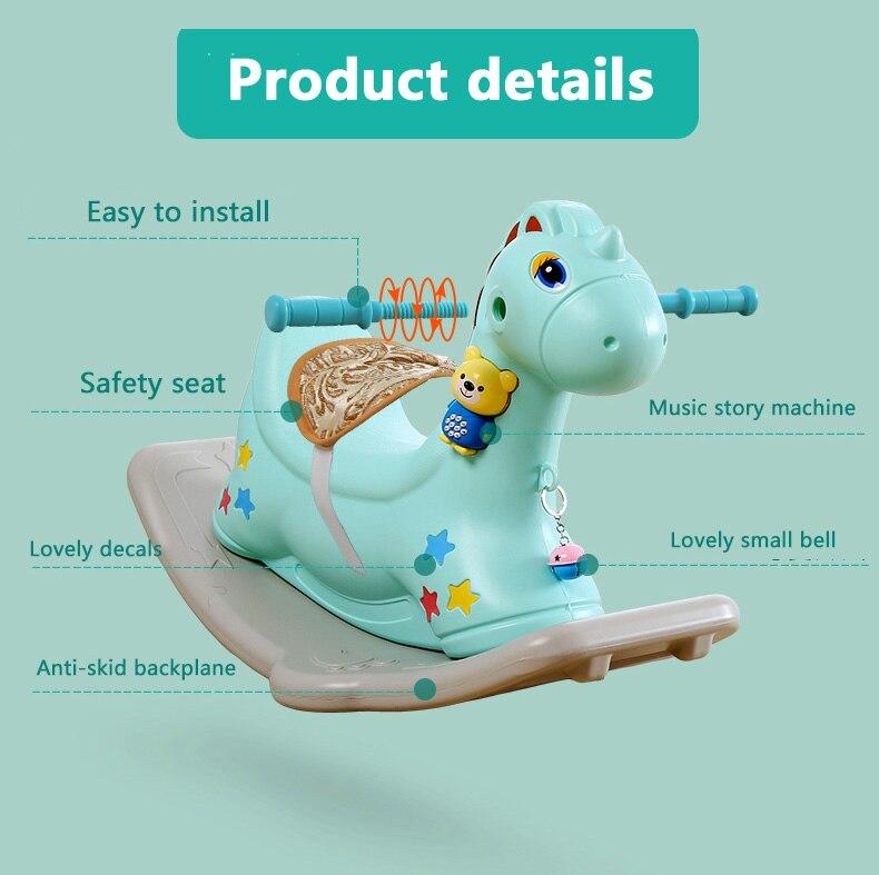 Bébé brillant enfants cheval à bascule bébé chambre Ride sur jouets jeux extérieur/intérieur pour enfants 1-6 ans chaise en plastique épais - 5