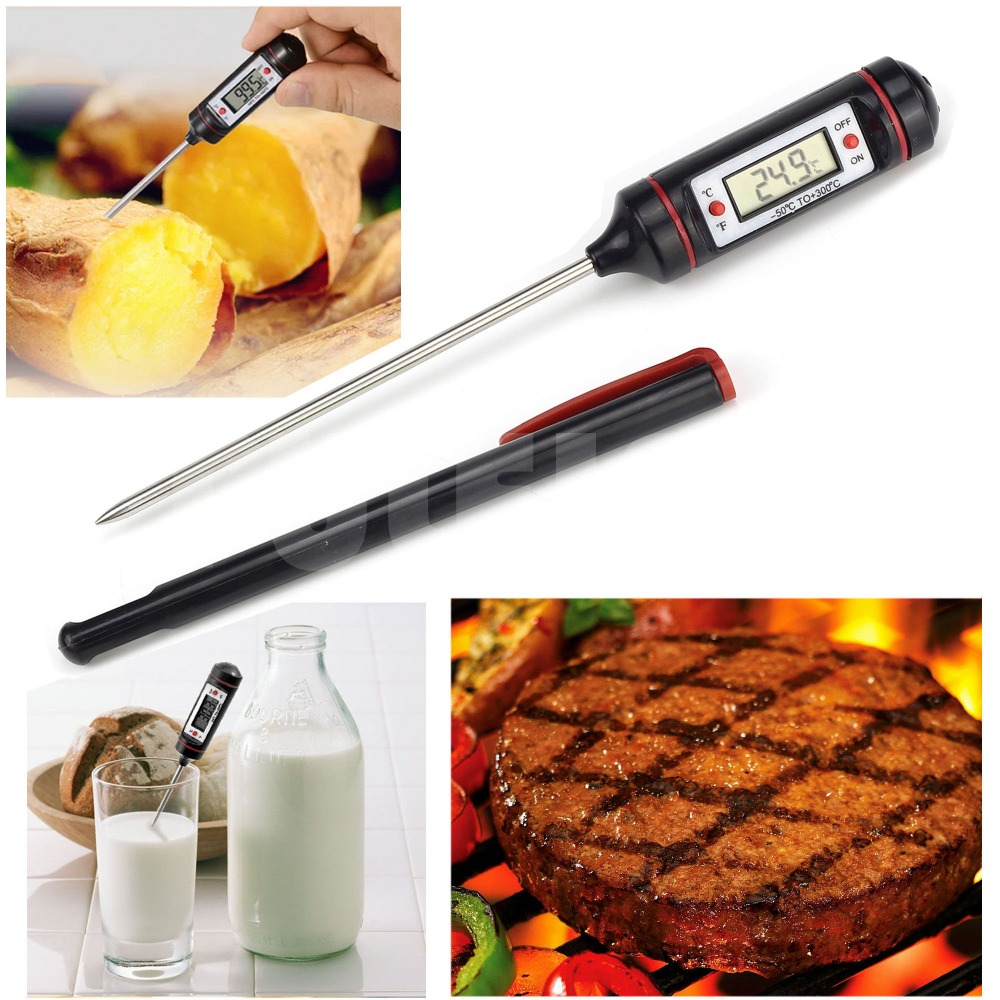 Цифровой термометр для пищи на кухне, электронный термометр для пищи, мяса, барбекю, газовой печи, Детский термометр для молока, инструменты ...