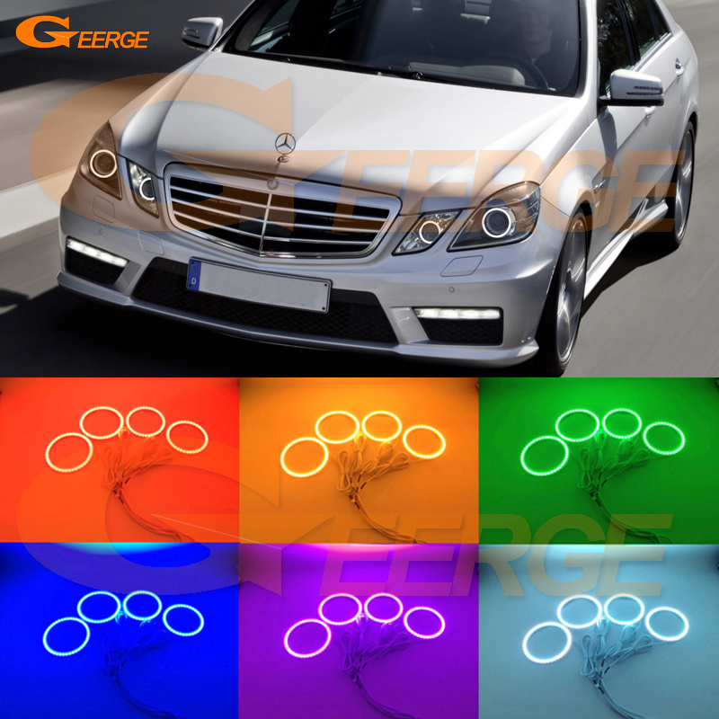 For Mercedes-Benz E-Class W212 E350 E550 E63 AMG 2010-2013 Xenon headlight Multi-Color Ultra bright RGB LED Angel Eyes kit 10pcs error free led lamp interior light kit for mercedes for mercedes benz m class w163 ml320 ml350 ml430 ml500 ml55 amg 98 05