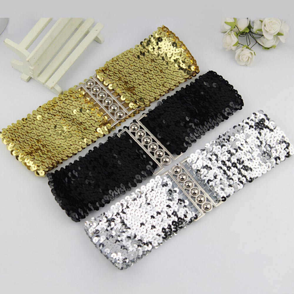 Women Waistband Dress Accessories Vintage Manual Sequins Belt Straps Women Dress Stretch Waist Belt Adjustable Belt 9m4