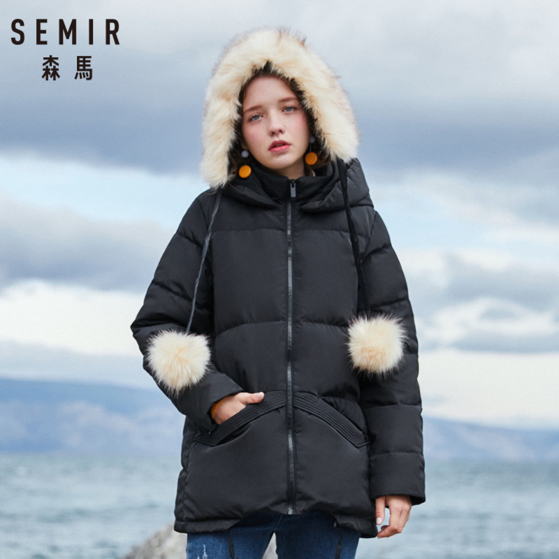SEMIR Women Hooded Down Jacket With Pocket Women's Down Filling Padded Jacket With Zip Silky Polyester Lined Drawstring At Hem