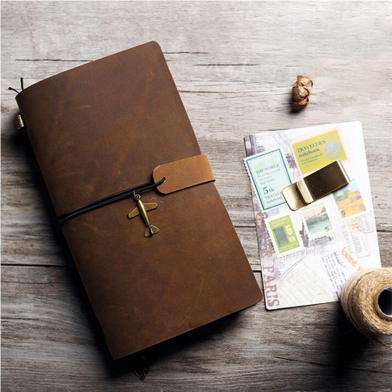 Vintage A5 Genuine Leather Rings Diary Notebook A6 Sketchbook Spiral Loose leaf Binder Travelers Planner School Office Supplies a5 a6 macaron spiral notebook with refill candy color loose leaf notepad planner diary girlfriend gift office school supplies