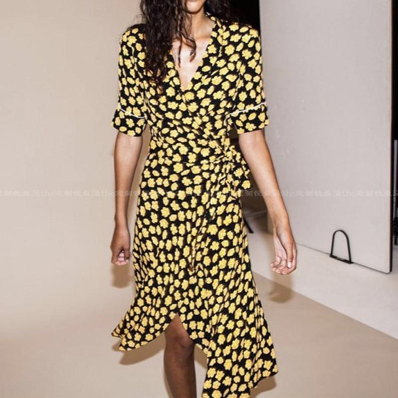 Printing V Yellow Pour longueur D'été Wrap Robe Imprimé Jaune 2019 Élégant Col En Femme TxaHqw0O