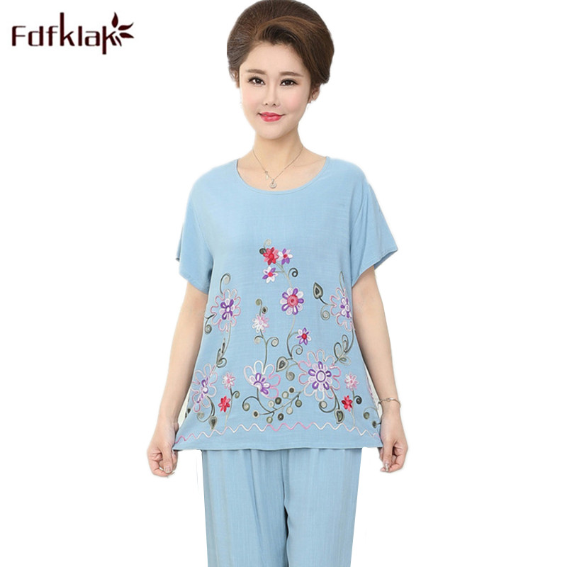 Fdfklak Plus Size Pajamas Women Summer Pajama Set Print Casual Sleepwear Female Home Wear Pyjamas Suit Pijama Feminino XXL 3XL