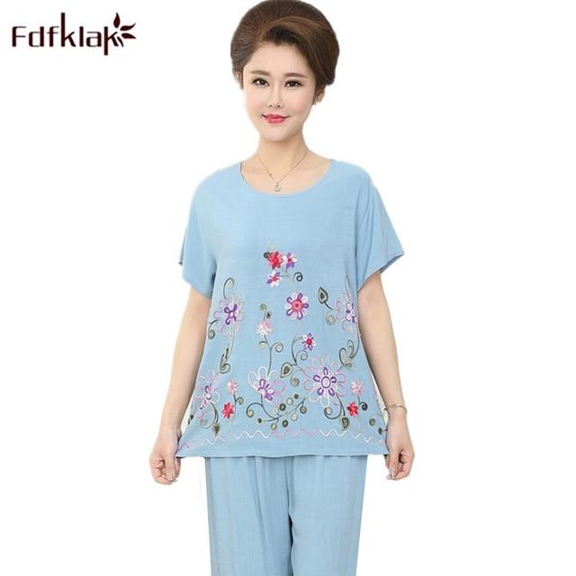 34e3c32bc Fdfklak Plus Size Pajamas Women Summer Pajama Set Print Casual Sleepwear  Female Home Wear Pyjamas Suit Pijama Feminino XXL 3XL