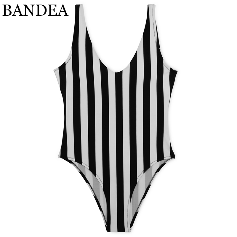 BANDEA one piece swimwear black vertical stripes swimsuit sexy backless women monokini high cut bottom brazilian bathing suit one piece swimsuits trikinis high cut thong swimsuit sexy strappy monokini swim suits high quality denim women s sports swimwear