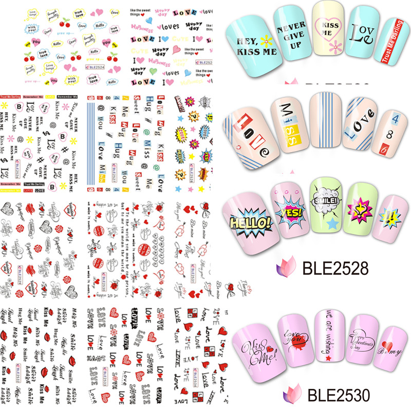 Aliexpress 1pc Pretty Sweet Valentines Day Water Transfer Nail Art Stickers Diy Polish Decoration Manicure Decals Tools Bop068 071 From