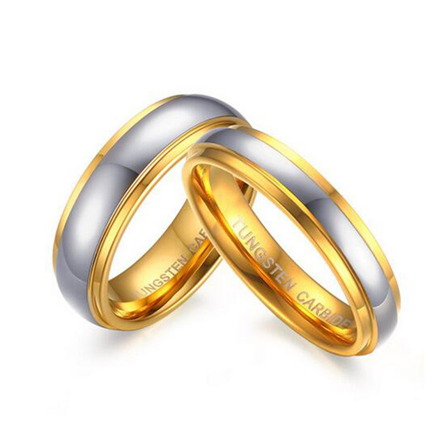 Quality Wedding Band For Women Men Real Tungsten Carbide Ring Gold