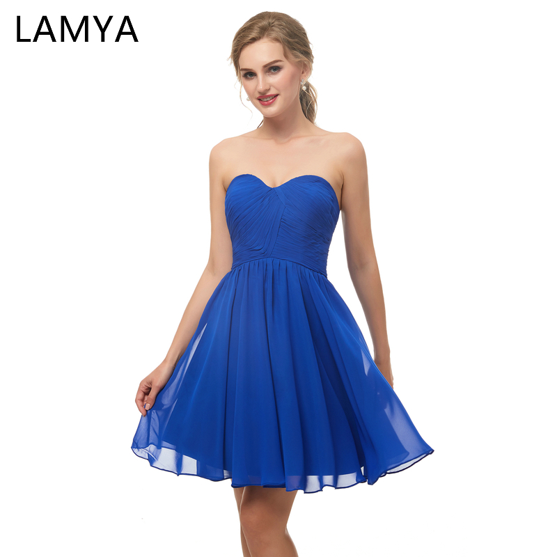 Lamya High Quality Princess Blue Short Prom Dresses Elegant Blue Evening Party Dress Gown Women Special Occasion Dress