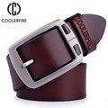 100% piel de vaca cinturones de cuero genuino para los hombres de vaquero correa de Lujo de la marca masculina de la vendimia de lujo jeans cinturón de diseñador hombres de alta calidad