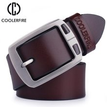 cowhide genuine leather belts for men cowboy Luxury strap brand male vintage fancy jeans designer belt men high quality(China)