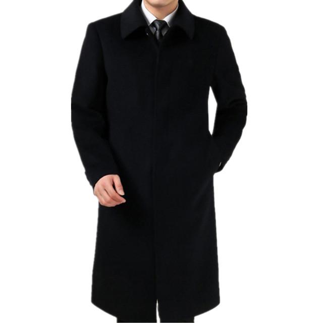 2017 Outono e inverno de lã casaco masculino além de veludo espessamento cashmere trench Único Breasted de lã de ultra longo casaco de lã