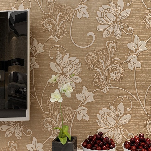 New Floral Wallpaper For Bedroom Living Room Decor Non-woven 3D Embossed Flocking Fabric Wall Paper Mural Flower Wallpaper Roll
