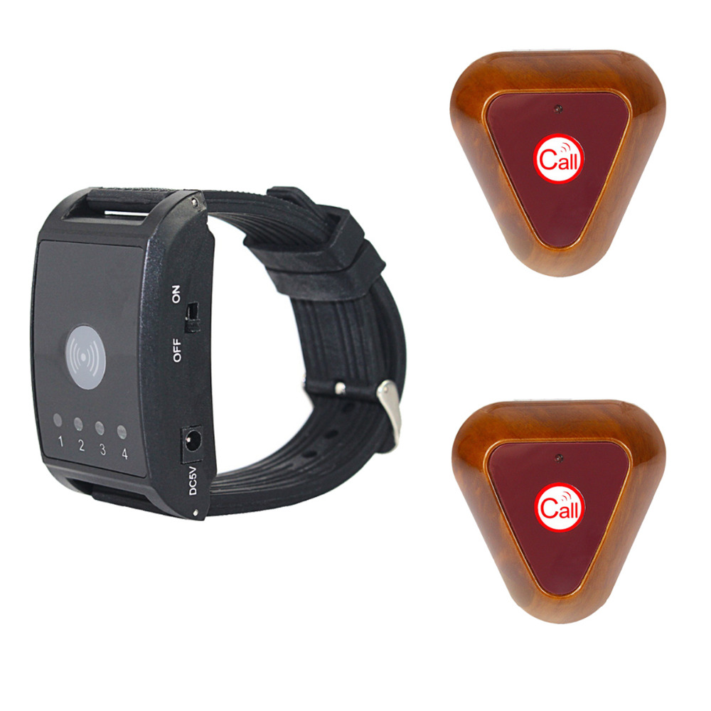 433MHz 4 Channel Wireless Calling System 1 Watch Pager+2 Call Button Waiter Call Pager System Restaurant Equipments F4411A hot selling restaurant wireless waiter buzzer call button system 1 display 2 black watch pager 30 black table call bells