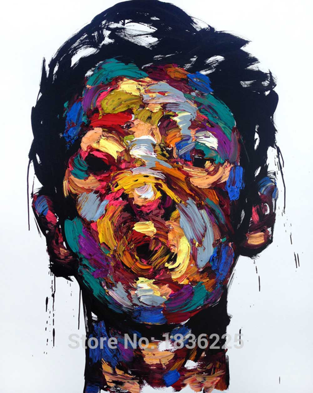 hand painted wall art colorful man face painting on canvas