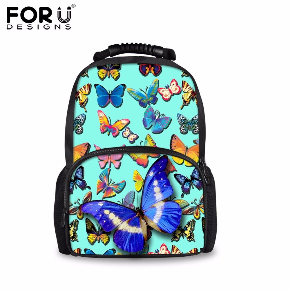 FORUDESIGNS Green 3D Butterfly Women Travel Backpack Canvas Backpacks Book School Bag For Teen Girls Mochila