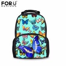 Forudesigns/зеленый 3D бабочкой путешествия рюкзак холст рюкзаки книга школьная сумка для девочек-подростков Mochila Infantil рюкзак