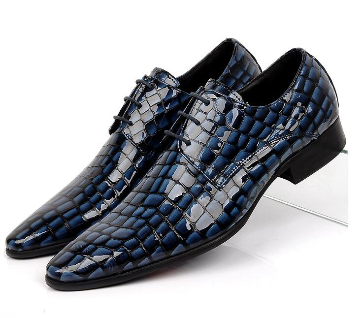 Dress shoes men genuine leather lace up smart casual shoes stone pattern plaid dark blue med heel height increasing moccasins loose fit casual thicken plaid lace up wool pants for men
