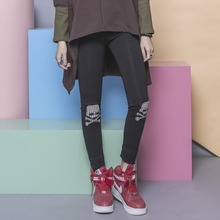 Fashion street personality brief solid color embroidery applique check skull elastic all-match fleece legging female
