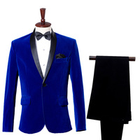 2018 Men's Autumn Winter Classic Shawl Collar Two Piece Royal Blue Wine Red Velvet Wedding Groom Suit Jacket Pants Leisure Blaze