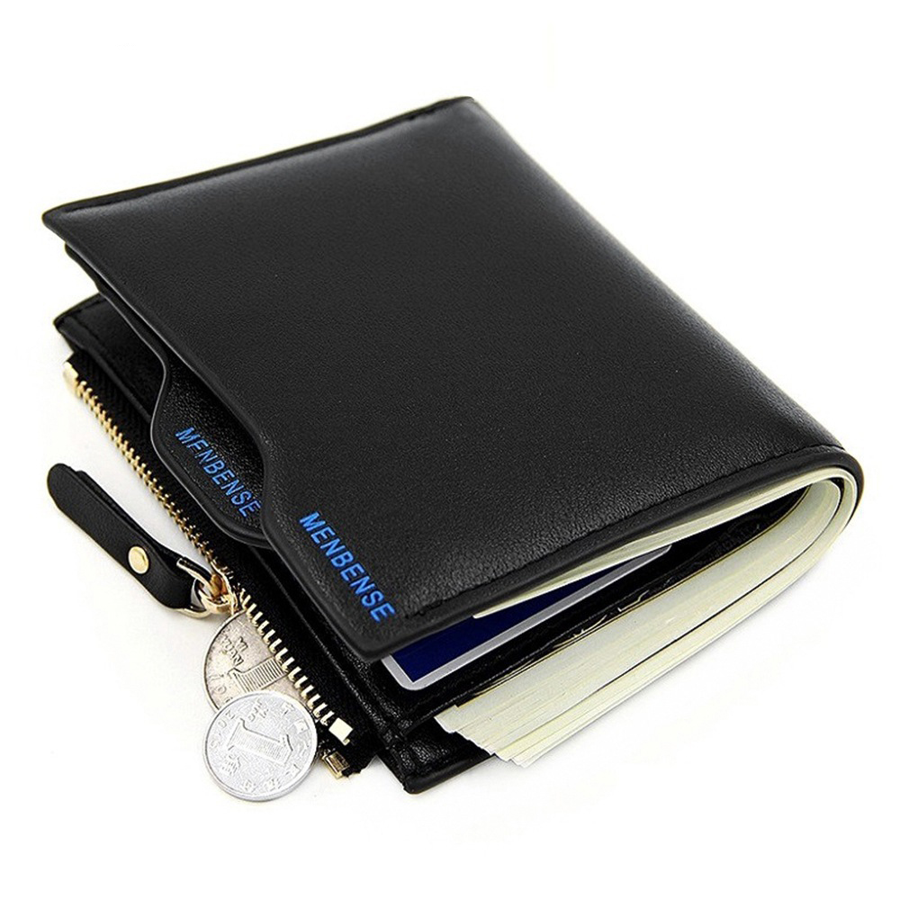 Fashion Leather Wallets for Men with Coin Pocket Wallet ID Card Holder Purse Clutch Zipper Bag Gift
