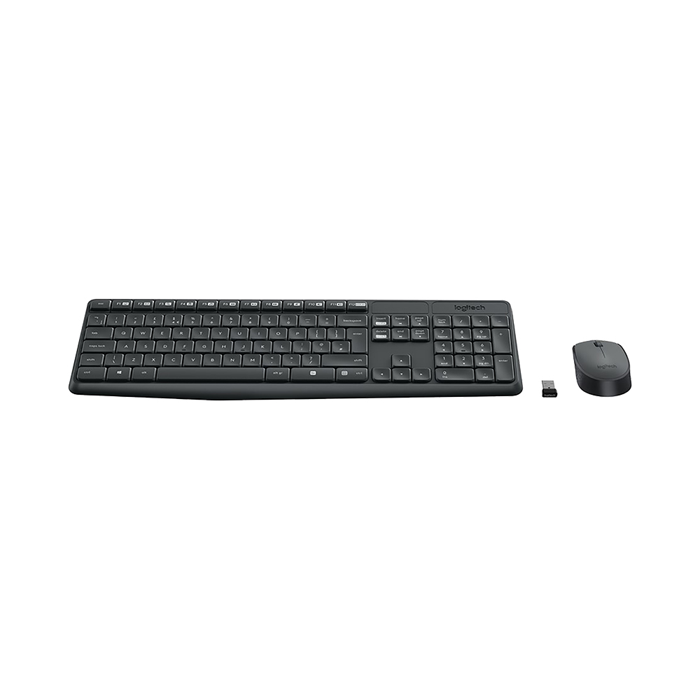 Logitech MK235, Standard, Wireless, RF Wireless, QWERTY, Grey, Mouse included