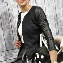 Women Outwear PU Leather Patchwork Jackets Female Casual Short Thin Coa
