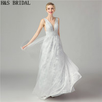 H&S BRIDAL Prom Dresses Lace A Line Silver Long Women Formal Evening Dresses Floor Length Cheap China Evening Gowns
