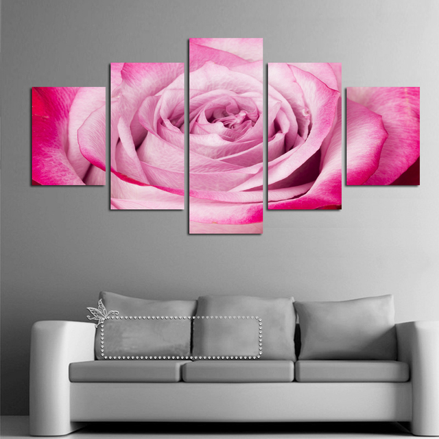 Modern canvas oil paintings style modular wall art pictures home modern canvas oil paintings style modular wall art pictures home decor 5 panel pink roses flower mightylinksfo